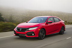 2017 Honda Civic Hatchback in Red - In Motion