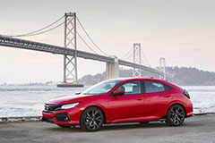 2017 Honda Civic Hatchback in Red - Front Angle